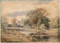 CHURCH & RIVER IN LANDSCAPE Antique Watercolour Painting SIGNED - 19TH CENTURY