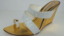 Gracienne Women's Sz 10 White & Gold Patent Leather Strappy Designer Wedge Heels