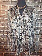 Sioni Popover Blouse Ladies Sz L Black Silver Sateen Gorgeous Print VERY CLASSY