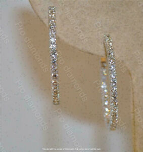 1.20Ct Round Cut VVS1 Diamond Huggie Hoop Earrings Solid 14K White Gold Finish