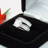 2 CT .925 STERLING SILVER PRINCESS CUT WEDDING ENGAGEMENT RING SET FREE RING BOX