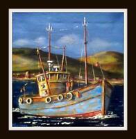"The Boy David Trawler : Original Marine Oil Painting by Kevin Corroue 12"" X 12"""