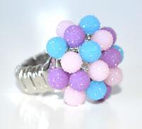 ANELLO ARGENTO rosa viola azzurro donna fascia strass elastica a molla ring F75
