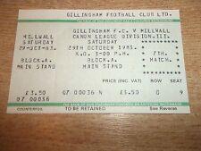 Football Match Ticket. Gillingham v Millwall. Sat 29th October 1983. Division 3.