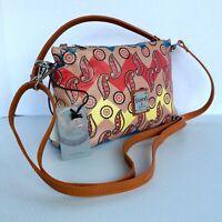 Valentina Italian Leather Crossbody Shoulder Handbag Red Blue Yellow Paisley New