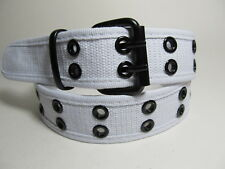 """Men White Fabric Belt Two Metal Hold with Black Buckle L 38 - 40"""" #2020"""