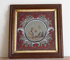 Antique Embroidery Needlework Beadwork Picture 19th Century