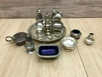 Vintage Silver plated Cruet sets, Ianthe, Grenadier and others with tray