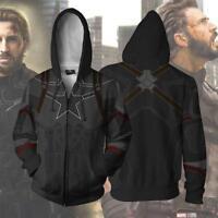 Avengers 3 Captain America Hoodie Sweatshirt Cosplay Zipper Coat Jacket Costume