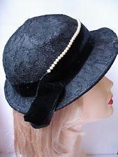 Vintage 50's Carole Ann Black Chantilly Lace Hat with Brim & Pear & Velvet Band