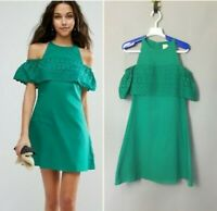 ASOS Boderie Cold Shoulder Eyelet Shift Dress Kelly Green Size 4 NEW
