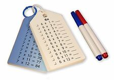 Wipe Clean Times Tables Multiplication Flash Cards 0-12, Key Rings, Markers and