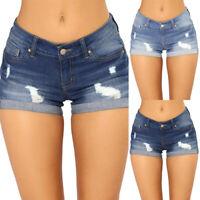 Women's Denim Mini Shorts Skinny Ripped Hot Pants Jeans Stretch Casual Trousers