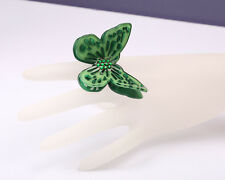 Acrylic Green Butterfly Ring, Adjustable Size P to S