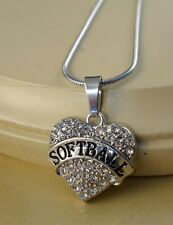SOFTBALL small clear crystal hart pendant W/Steel Necklace family gift jewelry