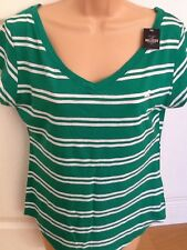 NEW HOLLISTER M 12 Ladies Green White Striped V Neck T-shirt Tunic Top