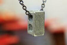 Silver Cinder Block Necklace Concrete Block Foundation Brick Builder 079