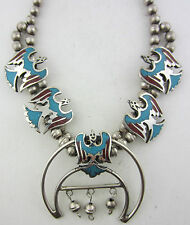 Vintage Sterling Silver Peyote Bird Turquoise & Coral Squash Blossom Necklace