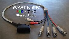 Female RGB Euro SCART to 4 BNC + Audio Cable Sony PVM Sega Genesis SNES Neo Geo