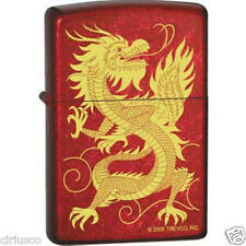 Chinese Oriental Lucky Golden Dragon Candy Red Zippo Lighter