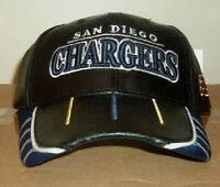 San Diego Chargers Leather Hat Reebok Black NFL Logos Embroidered
