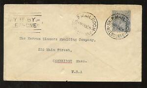 AUSTRALIA 1929 HEAD 3d SOLO FRANKING to USA...SHIP MAIL ROOM + TELEPHONE SLOGAN
