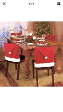 Christmas In July 4 Pc Christmas Chair Cover Red Santa Claus Hat Home Dinner