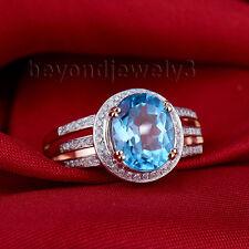 Solid 14Kt Rose Gold Diamond Blue Topaz Engagement Wedding Gemstone Ring