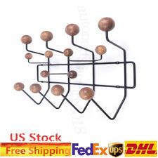 Mid-Century Wall Mount Wood Ball Hanger Candy Hook Home Walnut Coat Rack 10kg