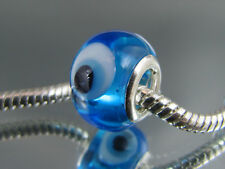 "SILVER CORE BLUE ""EVIL EYE"" MURANO GLASS BEADS EURO STYLE CHARM BRACELET MSB 525"