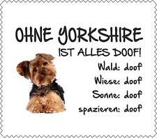 """Displayreinigunstuch Yorkshire Terrier """"ALLES DOOF"""" Brillenputztuch NEU GT0022"""