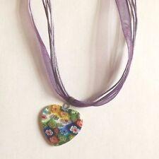 collier organza violet avec pendentif coeur fleurs 27x25 mm
