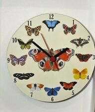 butterfly wall hanging clock Round - Red Admiral Butterfly Clock