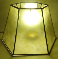 "7"" x 12"" x7 1/2"" Craftsmen Green Hexagon Style Mica UNO Bridge Floor Lamp Shade"