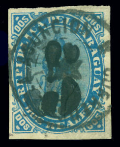 PARAGUAY 1878 LION - hand SURCHARGE 5c on 2r blue DOUBLE  Scott # 5a used  VF