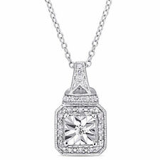Amour Sterling Silver 1/7ct TDW Diamond Square Halo Dangle Necklace