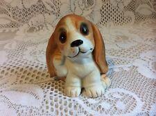 Vintage Homco 1407 Beagle Basset Puppy Dog Scratching Ear Figurine Porcelain