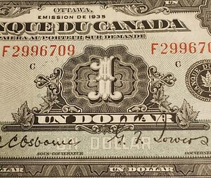 1935 Canada $1. RARE FRENCH Version. Bank of Canada's First Series of Banknotes.