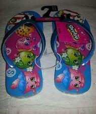 Shopkins Big Girls Flip Flop Shoes Size 2-3  NEW Blue Sparkle