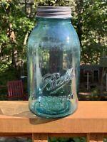 VTG BALL MASON JAR 1/2 GAL BLUE RARE 1913-1922 DROPPED A OFFSET ZINC LID