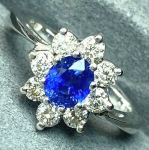 $4100 Blue Sapphire Diamond Halo 14K White Gold Vintage Ring Certified Size 7