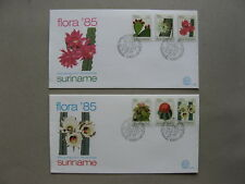 SURINAME, 2x cover FDC 1985, flower cactus