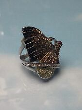 BUTTERFLY  BIG  SILVER  RING  w/ IRIDESCENT & PRETTY STONES  WOMENS  size 9  NEW