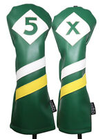 Majek Retro Golf #5 & X Fairway Wood Headcover Green White Yellow Leather Style