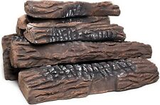 Natural Glo Large Gas Fireplace Logs | 10 Piece Set of Ceramic Wood Logs. Use