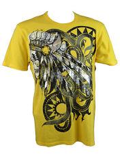 KONQUEST PLATINUM Men's Indian Skull Print T-Shirt Yellow (KQTS067)