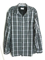 Columbia Omni-Wick Mens L Vented Shirt Hiking Black Plaid w/Roll-up Sleeves