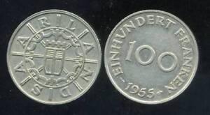 SARRE -  SAARLAND   100 franken  1955  ( etat )
