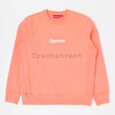Supreme FW18 Box Logo Crewneck split hooded long sleeve sweatshirt Coral peach