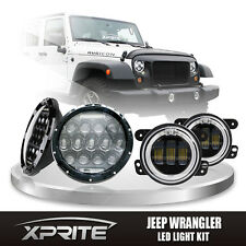 """7"""" 75W CREE LED Headlights DRL with Fog Light White Halo Combo For 07-16 Jeep"""